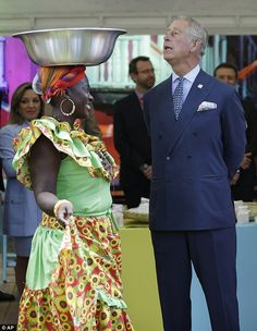 'I'm not putting one of those on my head!' Prince Charles joked later about the bowl.