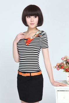 Cute dress, Stripe Dress, Bodycon, Short Sleeve, Black and white, YRB dress, 0384, korean dress, asian dress, shop korean clothes, buy asian...