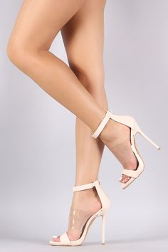 Lucite Band Open Toe Stiletto Heel www.ScarlettAvery.com