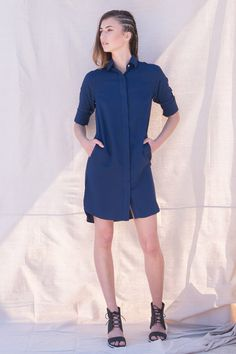 Helene Long Sleeve Bamboo Shirt Dress Blue, reinvents a classic you know and love with woven bamboo fabric. The Bamboo Shirt Dress is great for any season.