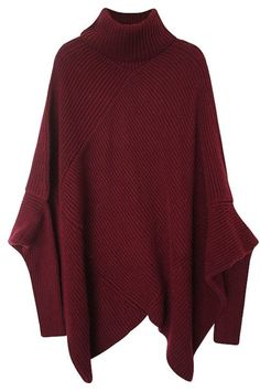 Dark Red Knitted Turtleneck Poncho Sweater #genuine-people #sweater #poncho
