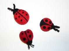 "Needle Felted Ladybug Magnet Kit (Luscious Ladybugs!) from Purple Moose Felting  ""Like"" Us on Facebook at www.facebook.com/purplemoosefelting"
