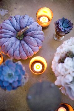 i really want to get some different kinds of pumpkins this year...love the blue. lovely.