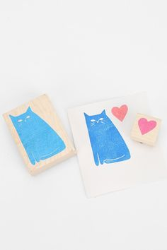 Yellow Owl Workshop Cat Heart Stamp- Set of 2
