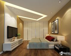 Make your bedroom look elegant and stunning with beautiful Gyproc India #falseceiling designs! Visit www.gyproc.in