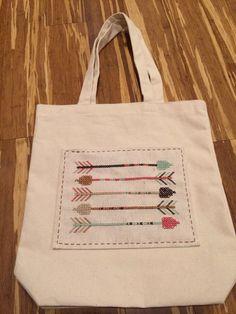 Arrow canvas tote bag on Etsy, $26.00