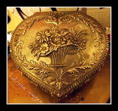 Victorian Flower Basket on Heart Shaped Jewelry Casket