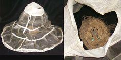 SANTUARY, 2009 by Artist Sher Fick - Altered Antique Crinoline, Bird's Nest, Robin's Egg, Encaustic Dipped Kozo Paper, Sumi-e Ink