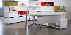 This is Haworth's RESIDE desking solution with clean modern componetry to build your work spaces.