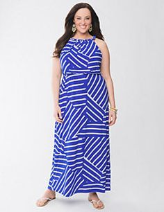 Our soft knit maxi dress is a seasonal favorite for its carefree attitude and versatility, taking you from lounging around the house, to lunch with the girls, even as a beach cover-up - all in one fashionable piece. Flattering fit offers a waist-defining drawstring, buttoned V-neck with colorful stitching to match the striped skirt, and wide straps so you can wear it with your favorite bra.