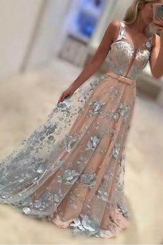A-Line Bateau Sweep Train Coral Lace Prom /Evening Dress with Bowknot