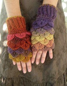 Fingerless Dragon gloves Dragon scale gloves by MarryGKnitCrochet