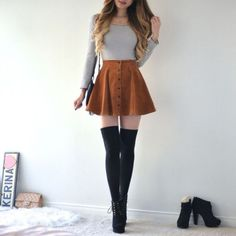 Flare skirt outfit, knee socks outfits, cute skirts, school outfits, a Flare Skirt Outfit, Cute Skirt Outfits, Cute Skirts, Girly Outfits, Cute Casual Outfits, Short Outfits, Pretty Outfits, Stylish Outfits, Fall Outfits
