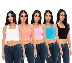 Special Offer: $19.99 amazon.com IDEAL STYLE COMPONENT – Our UNIQUE STYLES 5-Pack Ladies Layering Stretchy Comfy Racerback Ribbed Crop Tank Tops are the ideal style component for ladies to create looks that work from day to night. Wear with your favorite jeans for an easy...