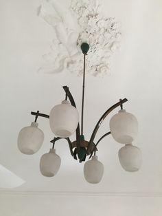 Vintage Italian chandelier from 50s in the style of Stilnovo. by GiammyArt on Etsy https://www.etsy.com/listing/231235009/vintage-italian-chandelier-from-50s-in