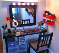 oh lv: My DIY Makeup Vanity -- such a creative and cute project! Perfect for a small space. I love the lights over the mirror and the idea of creating the vanity table itself from an IKEA shelf and attaching legs!