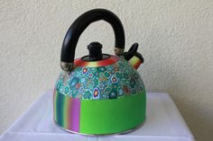 Decorative kettle made of polymer clay - Home decor polymer clay art -gift idea by tamarozenpolymerclay on Etsy https://www.etsy.com/listing/490054193/decorative-kettle-made-of-polymer-clay