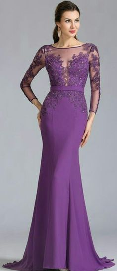 Long Sleeves Applique Purple Evening Dress Formal Dress 02152906
