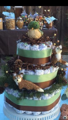 26 trendy baby shower themes for boys woodland diaper cakes Baby Cookies, Baby Shower Cookies, Baby Girl Shower Themes, Baby Shower Decorations, Shower Centerpieces, Diaper Cake Boy, Cake Baby, Diaper Cakes, Woodsy Baby Showers