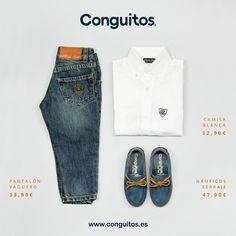 Todo un clásico para él, camisa, jeans y náuticos, un autentico hombrecito vestido de Conguitos.