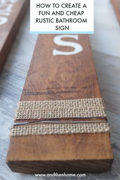I'm really excited to start adding some new updated decor, my preferences are the rustic, farmhouse look. So today, I'm going to share How to create a Fun and Cheap Rustic Bathroom Sign just incase your bathroom needs an update too! Rustic Farmhouse, Rustic Wood, Rustic Decor, White Acrylic Paint, Letter Stencils, Painted Letters, Rustic Bathrooms, Diy Home Decor Projects, Bathroom Signs