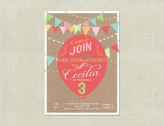 Girl Birthday Bunting Pennant Flag Balloon Party Invitation by HappyHeartPrinting, $10.99