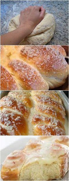 ESSE PÃO DOCE QUEM ME ENSINOU FOI UM AMIGO PADEIRO…FICA SUPER FOFINHO!! VEJA AQUI>>>Coloque numa bacia grande os ovos, a manteiga, o fermento, a água, o leite, o sal e o açúcar. Misture tudo com uma colher. Adicione aos poucos a farinha, alternando com o óleo #receita#bolo#torta#doce#sobremesa#aniversario#pudim#mousse#pave#Cheesecake#chocolate#confeitaria Cooking Chocolate, Good Food, Yummy Food, Pan Dulce, Our Daily Bread, Croissant, Sweet Bread, Food Menu, Sweet Recipes