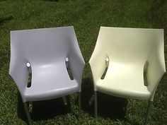 """AUTHENTIC  PAIR OF PHILIPPE STARCK CHAIR   """"Dr No""""   BY KARTELL ITALY  STACKABLE ARMCHAIR  21"""" w x 18"""" Leg  x 31"""" max. H  1 light green and 1 lavender gray"""