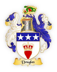 Family Crest Ceramic Ornament Circle Shape Douglas Coat of Arms