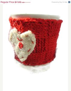 25OFF Red Wool Cup Cozy Knit Cup Cozy Felt Heart by KnitSew4U, $5.99