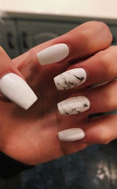 Acrylic Nails Coffin Short, Simple Acrylic Nails, Summer Acrylic Nails, Best Acrylic Nails, Coffin Nails, Summer Nails, Winter Nails, Marble Nail Designs, Acrylic Nail Designs