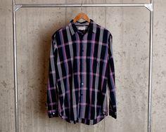 Vintage Mens Plaid Shirt Mens Plaid Button by LobsterBisqueVintage