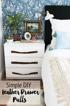 Our Nightstands & DIY Leather Drawer Pulls | The White Buffalo Styling Co. | Bloglovin'