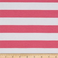 """Riley Blake Knit 1"""" Stripes Hot Pink from @fabricdotcom  From Riley Blake Fabrics, this lightweight stretch cotton jersey knit fabric features a smooth hand and four way stretch for added comfort and ease. With 50% stretch across the grain and 25% vertical stretch, it is perfect for making t-shirts, leggings, loungewear, yoga pants and more! It features printed horizontal stripes."""