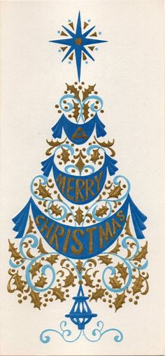 Vintage Christmas card, retro christmas
