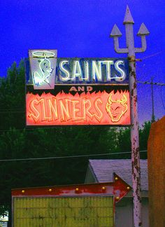 Saints and Sinners Bar in Espanola, NM... I've always wanted a shirt or a hat from this bar, One of these days I'll own one lol!