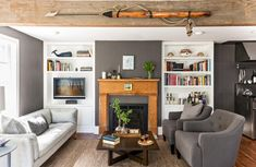 A Rustic Modern Cape House (elements of style) My Living Room, Home And Living, Living Spaces, Wood Fireplace, Fireplace Windows, Black Fireplace, Elements Of Style, Tiny Spaces, Style At Home