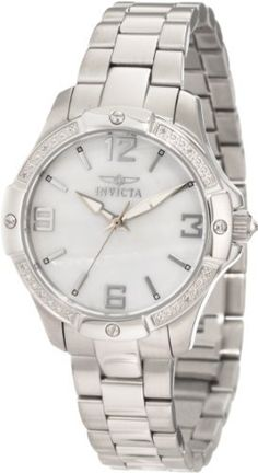 Invicta Women's 11720 Wildflower Diamond Mother-Of-Pearl Stainless Steel Watch Invicta. $149.00. Flame-fusion crystal; brushed and polished stainless steel case and bracelet. White mother-of-pearl dial with silver tone hands, hour markers and arabic numerals; luminous; 12 white diamonds set on bezel; white crystal cabochon on crown. Swiss quartz movement. Silver tone second hand. Water-resistant to 100 m (330 feet). Save 83%!