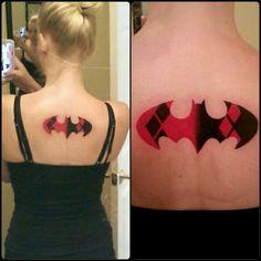 Harley Quinn bat symbol done by Johnny @ Seven Pines Tattoo Co. In Sandston, VA #HarleyQuinn #Batman
