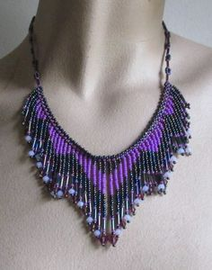 Vibrant Violet Tribal Fringe Necklace, with Swarovski Crystals | sunmoonstardesigns - Jewelry on ArtFire