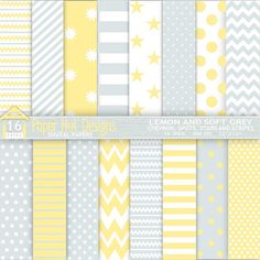 Lemon & Grey Digital Papers. by PaperHutDesigns on Etsy