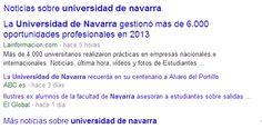 En este pin se observa el segundo resultado que aparece si buscas #UniversidadDeNavarra en #google, que son #noticias acerca de dicha universidad.