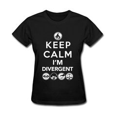 Round Neck Tshirts Female Keep Calm I'm Divergent Regular Fit Tops Tees Red Plus Size Cotton Short Sleeves Lowest Price