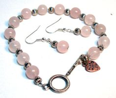 Pink Rose Quartz Bracelet and Earrings Set by lindab142 on Etsy