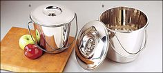 Stainless steel compost pails to use in your kitchen. Save kitchen scraps and compost them, don't send them down the garbage disposal and into the water supply!  Attractive and easy to clean, these are really nice buckets that won't hold stains or odors.