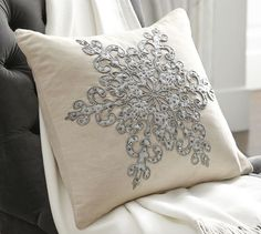 Snowflake Beaded Applique Pillow Cover   Pottery Barn