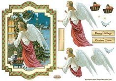 An Angel At Christmas Card Front on Craftsuprint designed by Sandra Carlse - This is a truly Vintage Christmas Angelic Decoupage Card Front. I have included all the decoupage elements you will need to make up this lovely design. There are 2 sentiment banners