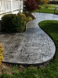 English Yorkstone Stamped Concrete Sidewalk in Bayfield Ontario