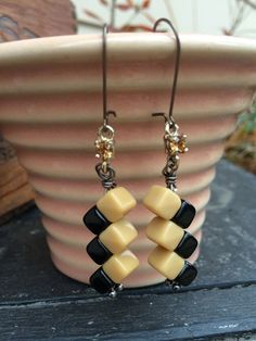 Antique cube beads, small rhinestone dangle earrings.  Vintage look.  Tilliegirlstudio