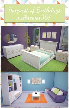 Furniture: Barnish Bed, Simplicity Nightstand and Simple Symmetry Bookcase recolor from Saudade Sims Living Room Sims 4, Sims 4 Bedroom, Sims 4 Mm Cc, My Sims, Sims 4 Mods, 4 Wallpaper, Sims 4 Cc Furniture, The Sims 4 Download, Sims 4 Build